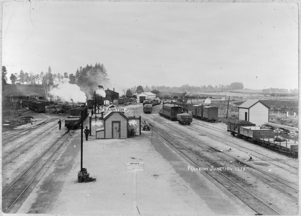 Frankton railyard showing multiple steam trains and other wagons.