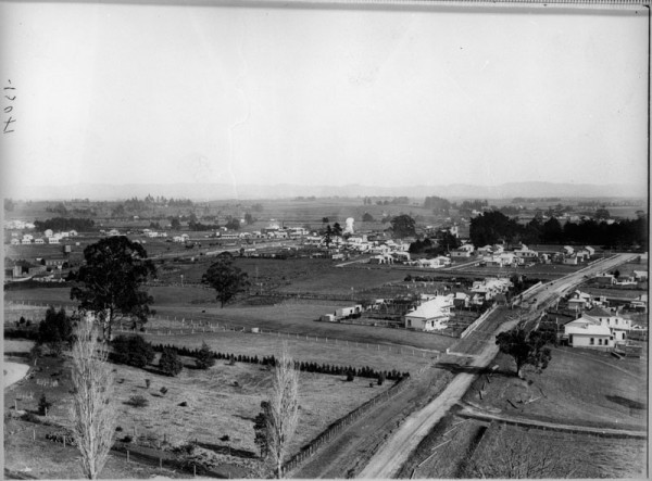 Panoramic image of farmland with some houses along a road to the right of image.